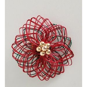 Poinsettia Brooch Wire Red Green Flower Pin